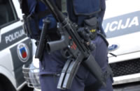 The ESP police set of accessories on the belt of Latvian anti-terrorist team